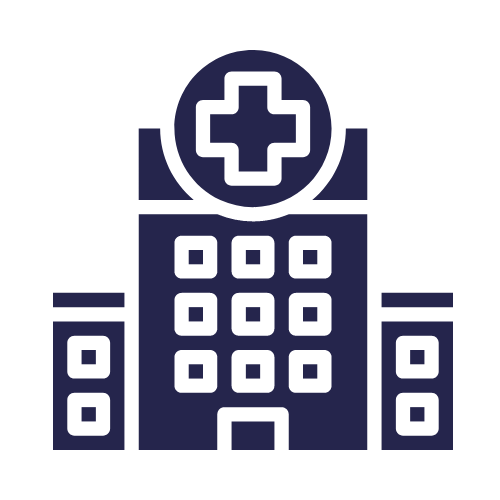 health facility icon in blue