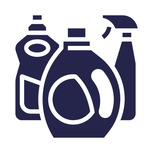 bottles cleaning solutions icon in blue