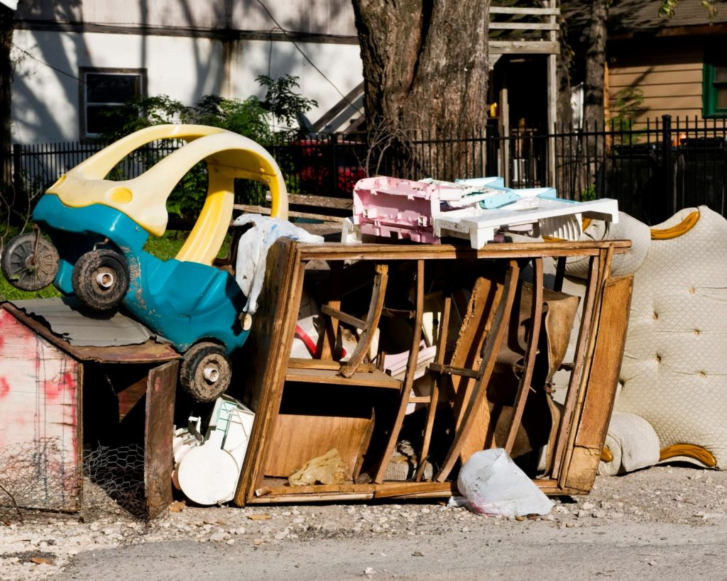 pile of clutter outside a home